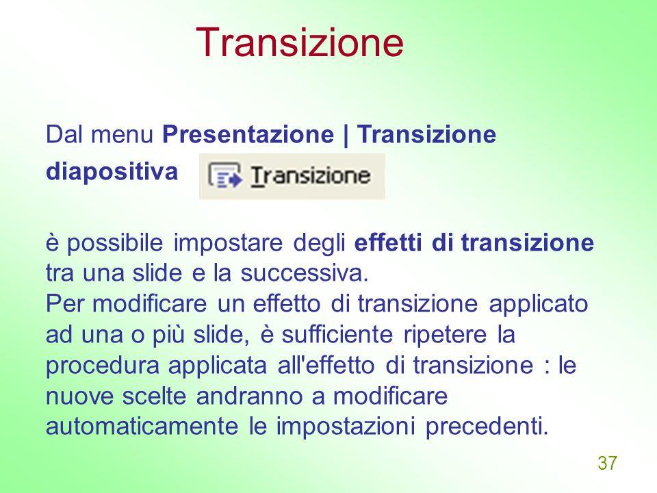 Transizione Dal menu Presentazione | Transizione diapositiva