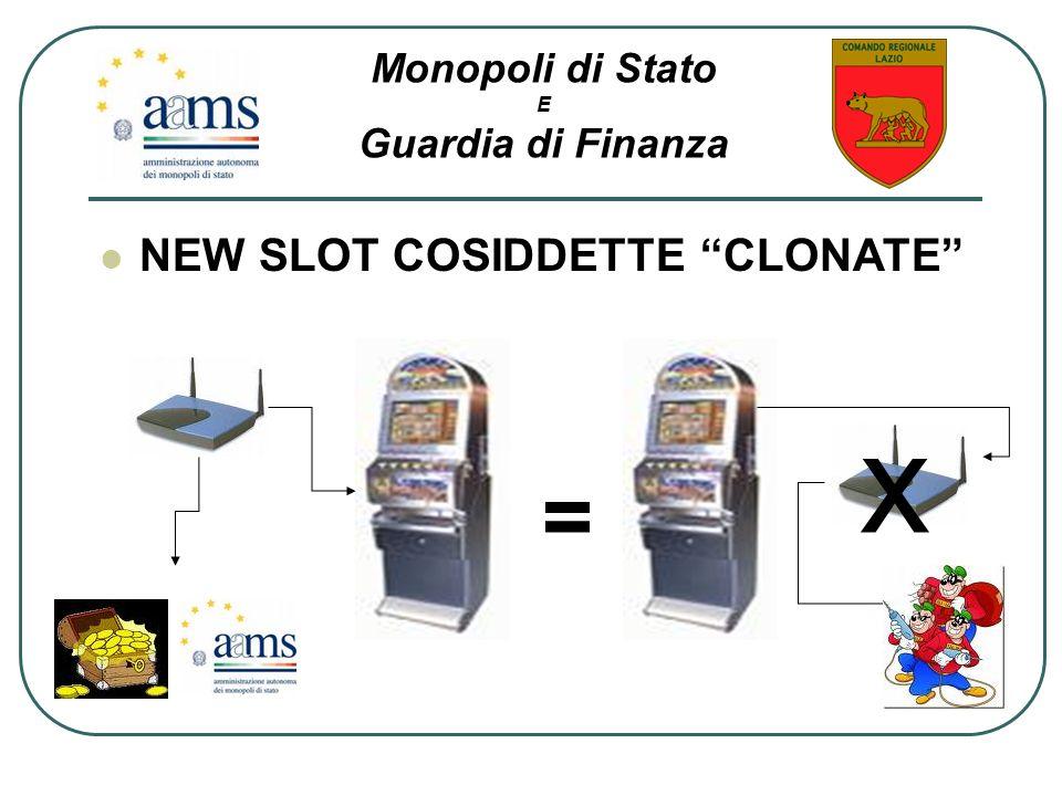 x = NEW SLOT COSIDDETTE CLONATE Monopoli di Stato Guardia di Finanza