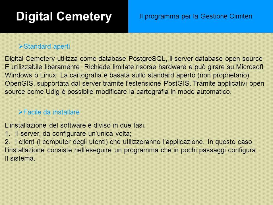 Digital Cemetery Il programma per la Gestione Cimiteri Standard aperti