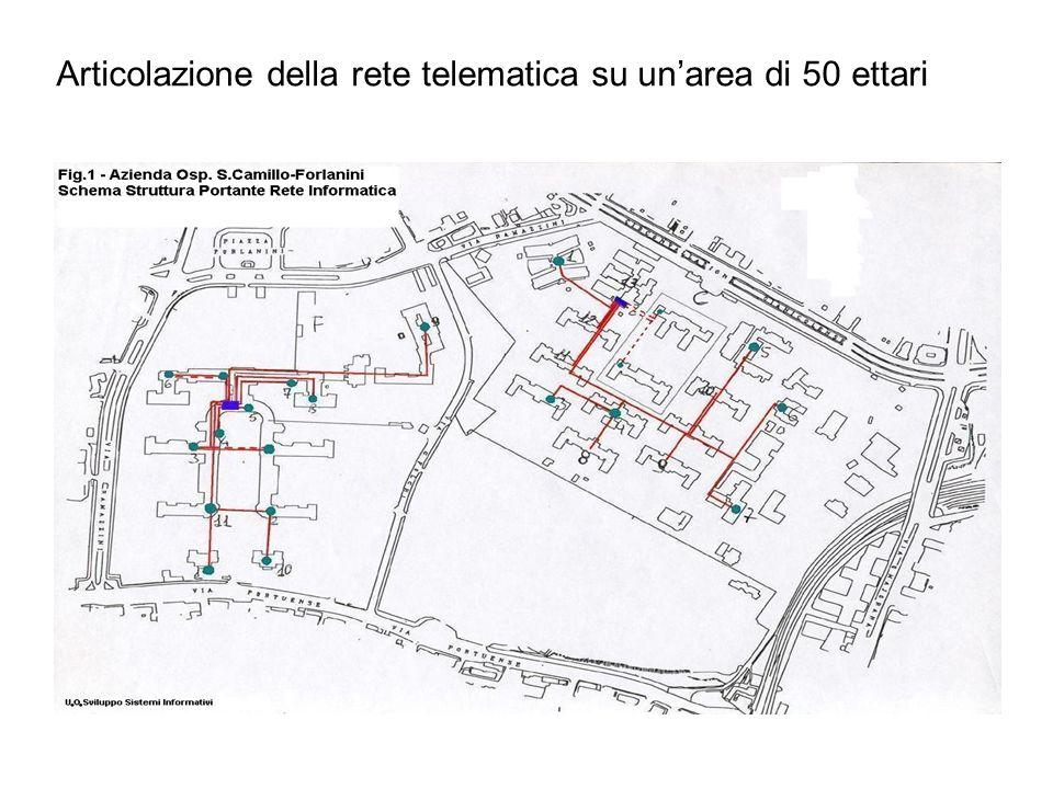 Articolazione della rete telematica su un'area di 50 ettari