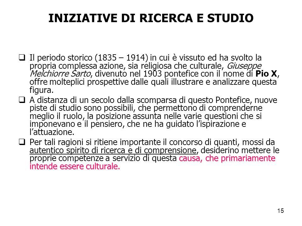 INIZIATIVE DI RICERCA E STUDIO