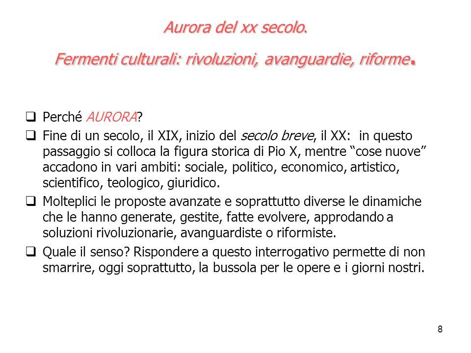 Aurora del xx secolo. Fermenti culturali: rivoluzioni, avanguardie, riforme.