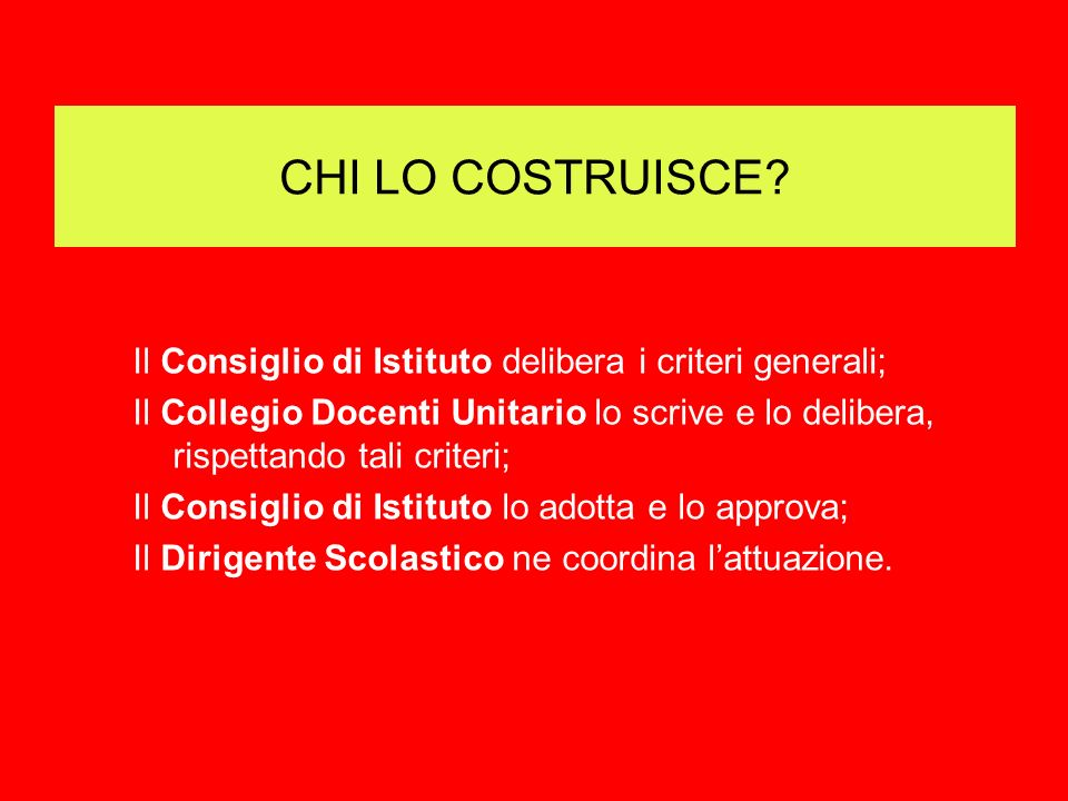 CHI LO COSTRUISCE Il Consiglio di Istituto delibera i criteri generali;