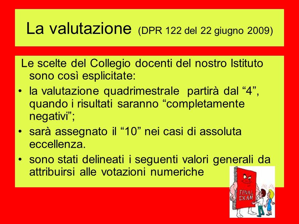 La valutazione (DPR 122 del 22 giugno 2009)
