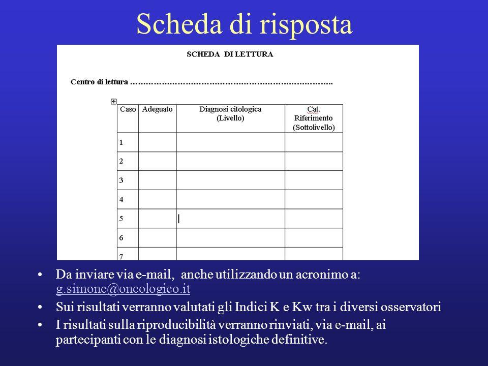 Scheda di rispostaDa inviare via e-mail, anche utilizzando un acronimo a: g.simone@oncologico.it.