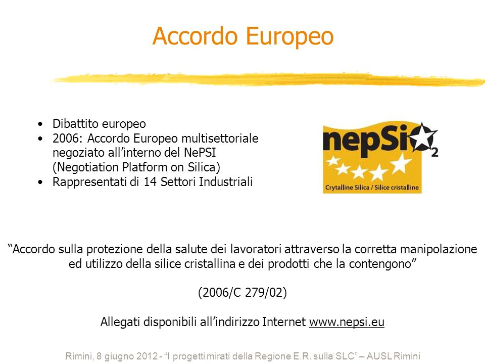 Allegati disponibili all'indirizzo Internet www.nepsi.eu