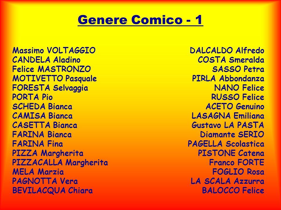 Genere Comico - 1 Massimo VOLTAGGIO CANDELA Aladino Felice MASTRONZO