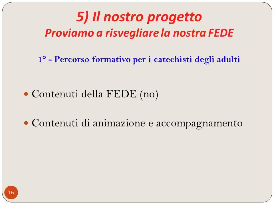 5) Il nostro progetto Proviamo a risvegliare la nostra FEDE