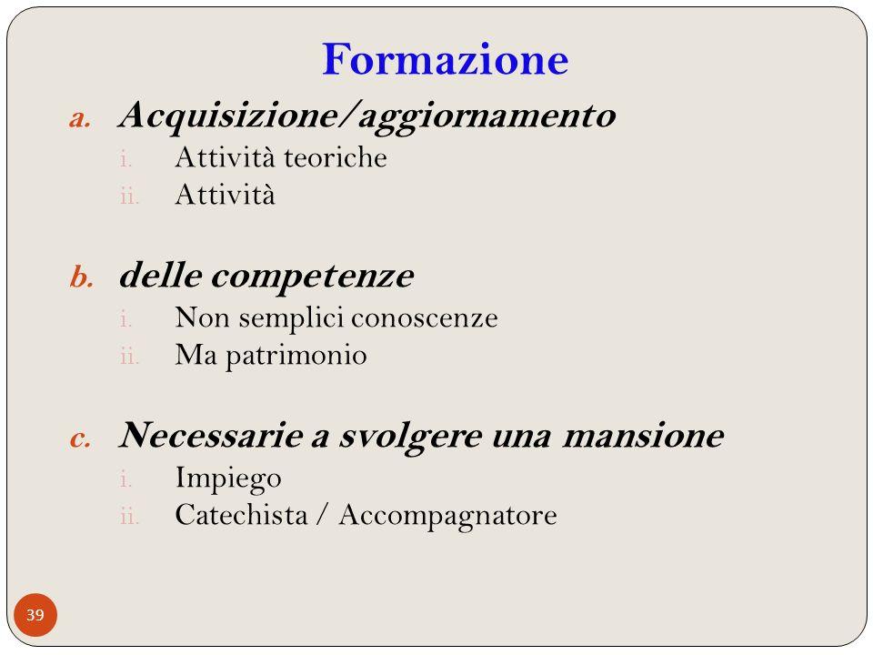 Formazione Acquisizione/aggiornamento delle competenze