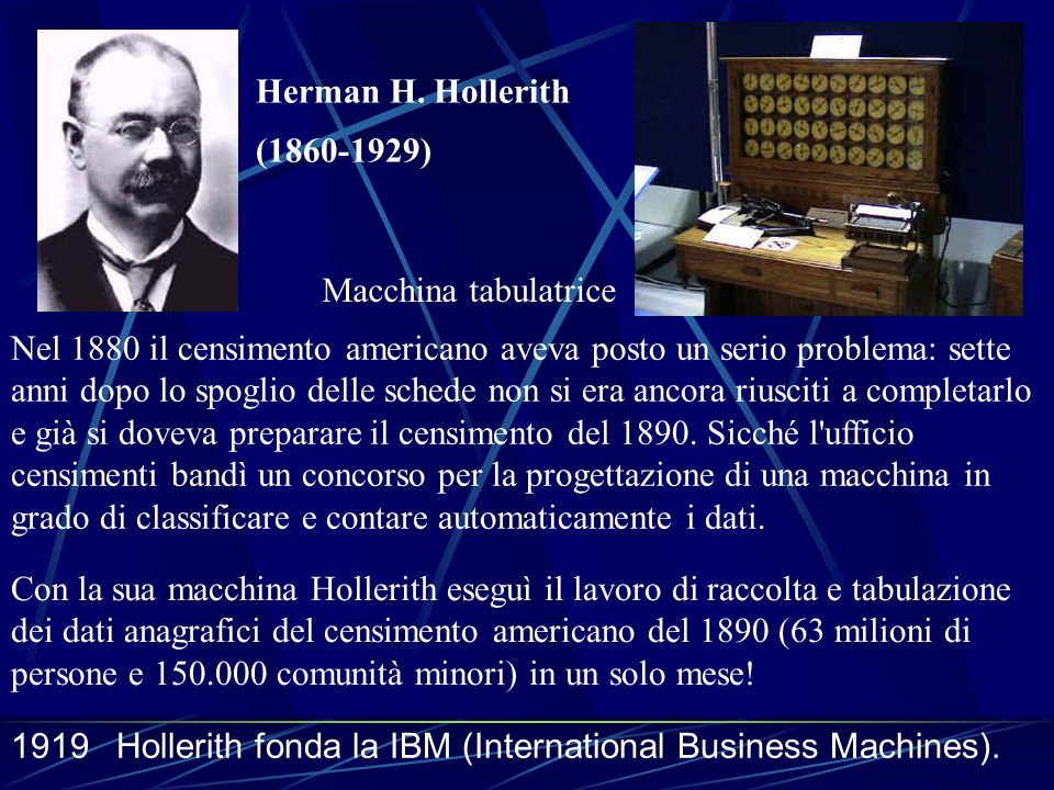 Herman H. Hollerith (1860-1929) Macchina tabulatrice.