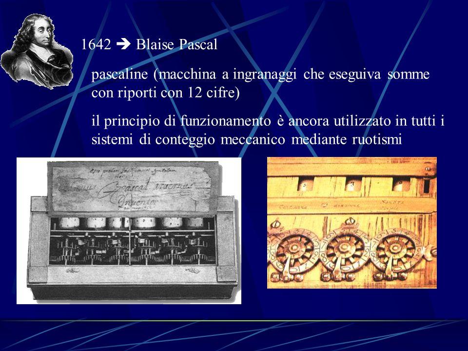 1642  Blaise Pascal pascaline (macchina a ingranaggi che eseguiva somme con riporti con 12 cifre)