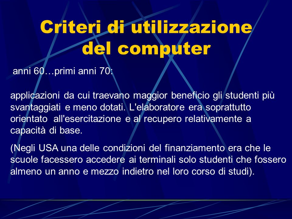 Criteri di utilizzazione del computer