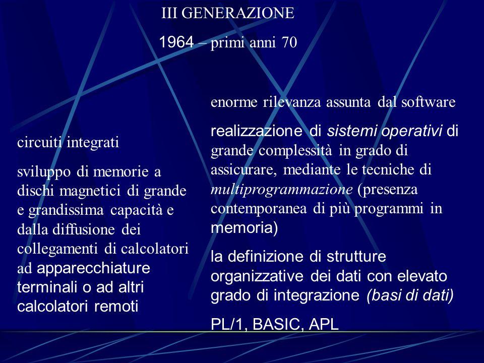 III GENERAZIONE 1964 – primi anni 70. enorme rilevanza assunta dal software.