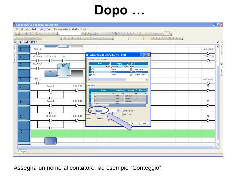 Dopo … Assegna un nome al contatore, ad esempio Conteggio .