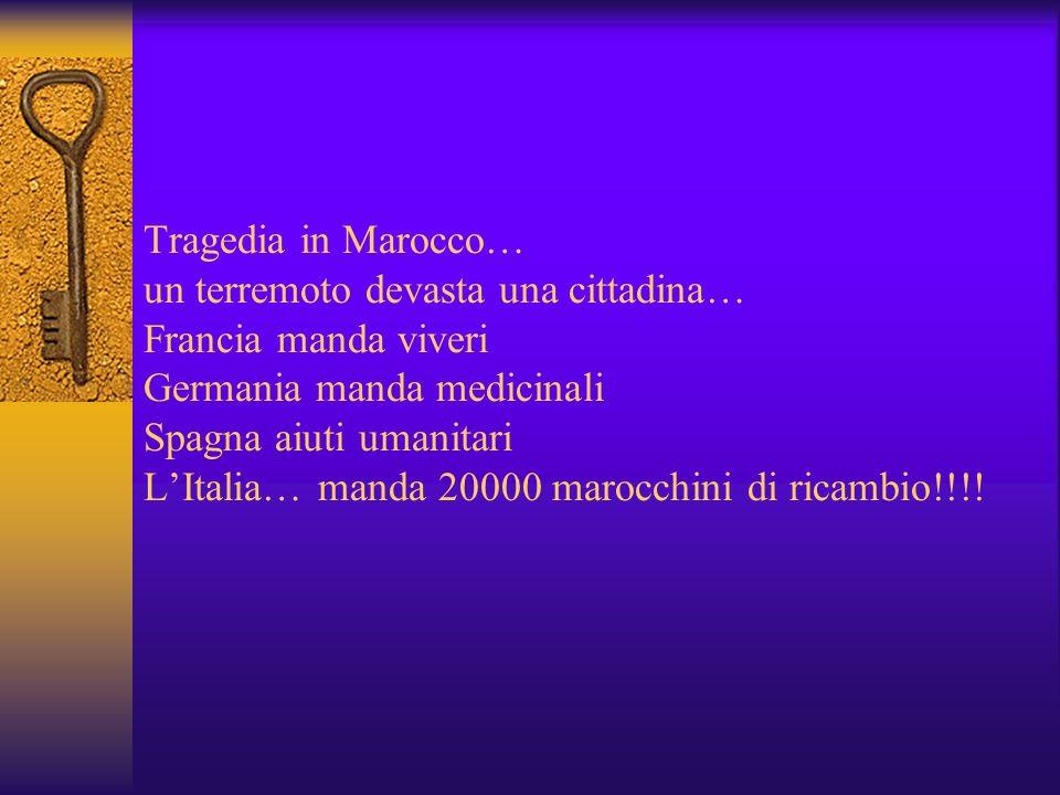 Tragedia in Marocco… un terremoto devasta una cittadina… Francia manda viveri Germania manda medicinali Spagna aiuti umanitari L'Italia… manda 20000 marocchini di ricambio!!!!