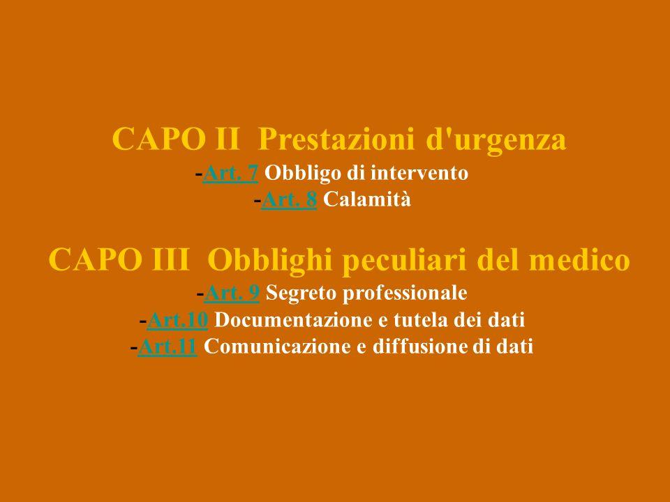 CAPO II Prestazioni d urgenza