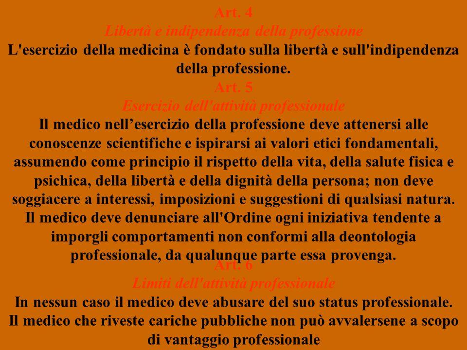 Art. 4 Libertà e indipendenza della professione