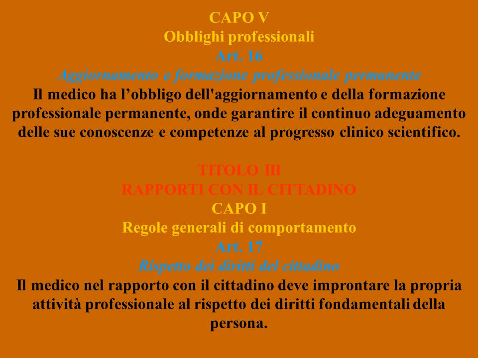 CAPO V Obblighi professionali