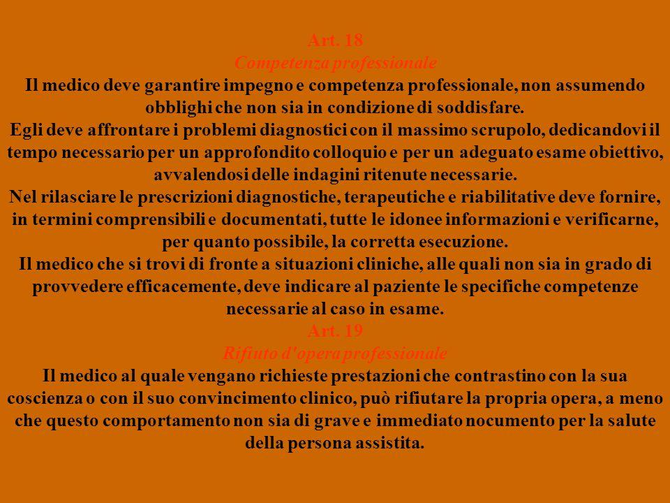 Art. 18 Competenza professionale Art. 19 Rifiuto d opera professionale
