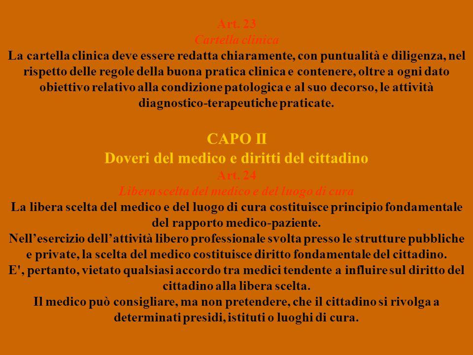 CAPO II Doveri del medico e diritti del cittadino