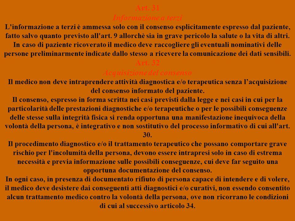 Art. 31 Informazione a terzi Art. 32 Acquisizione del consenso