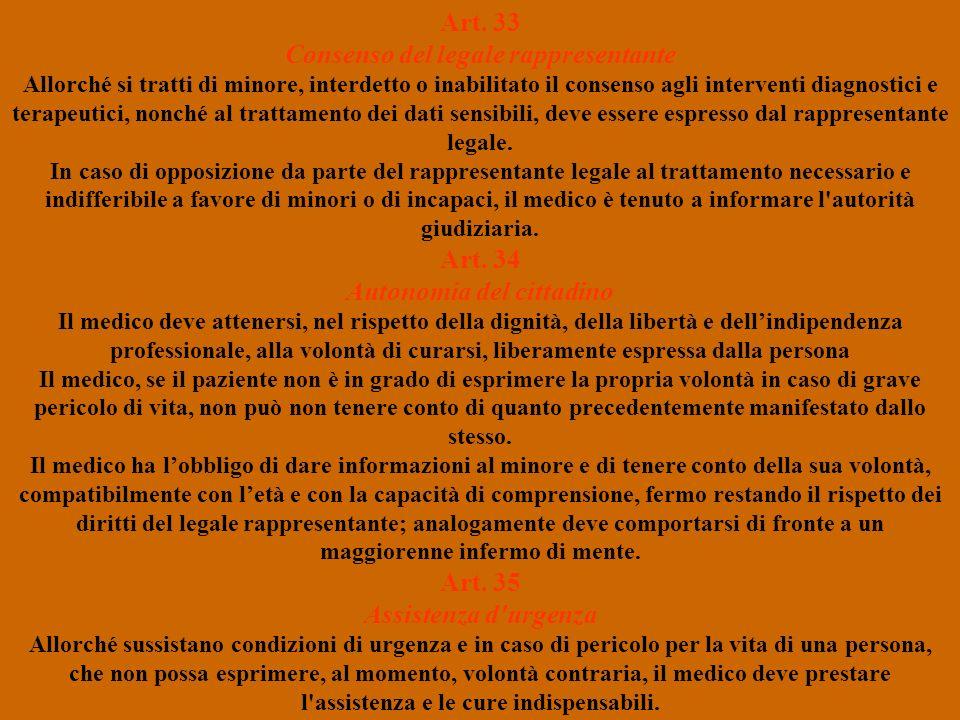 Art. 33 Consenso del legale rappresentante