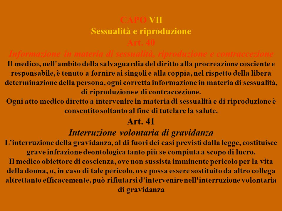 CAPO VII Sessualità e riproduzione