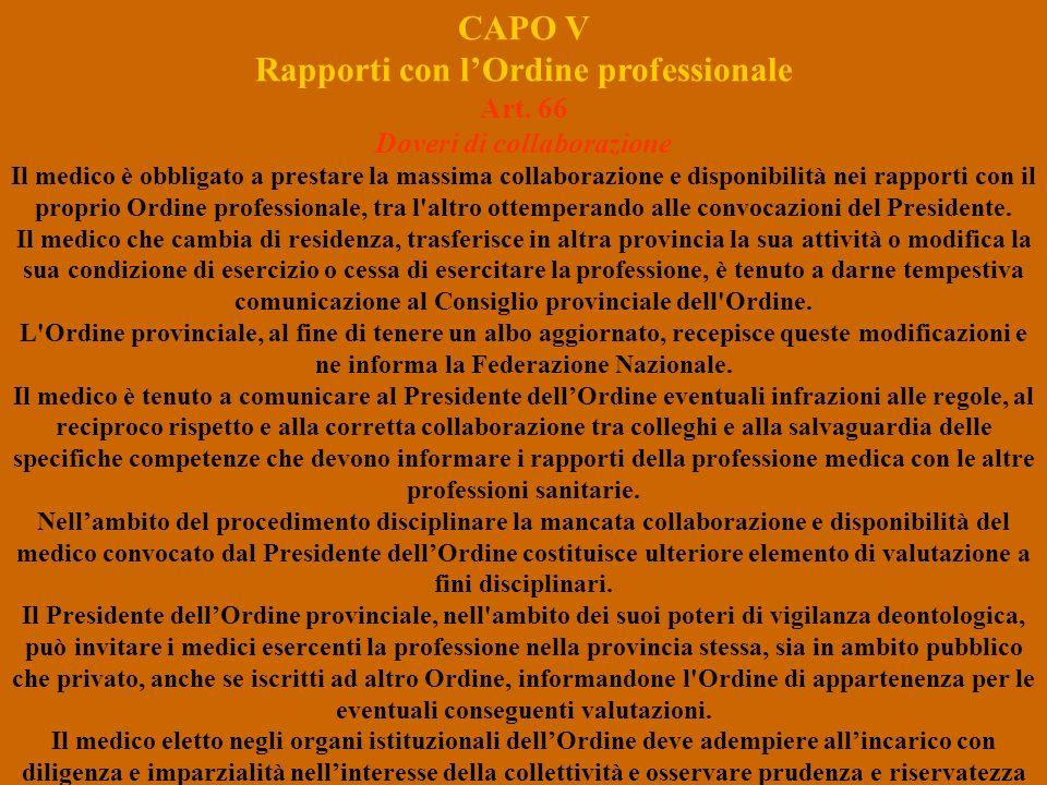CAPO V Rapporti con l'Ordine professionale