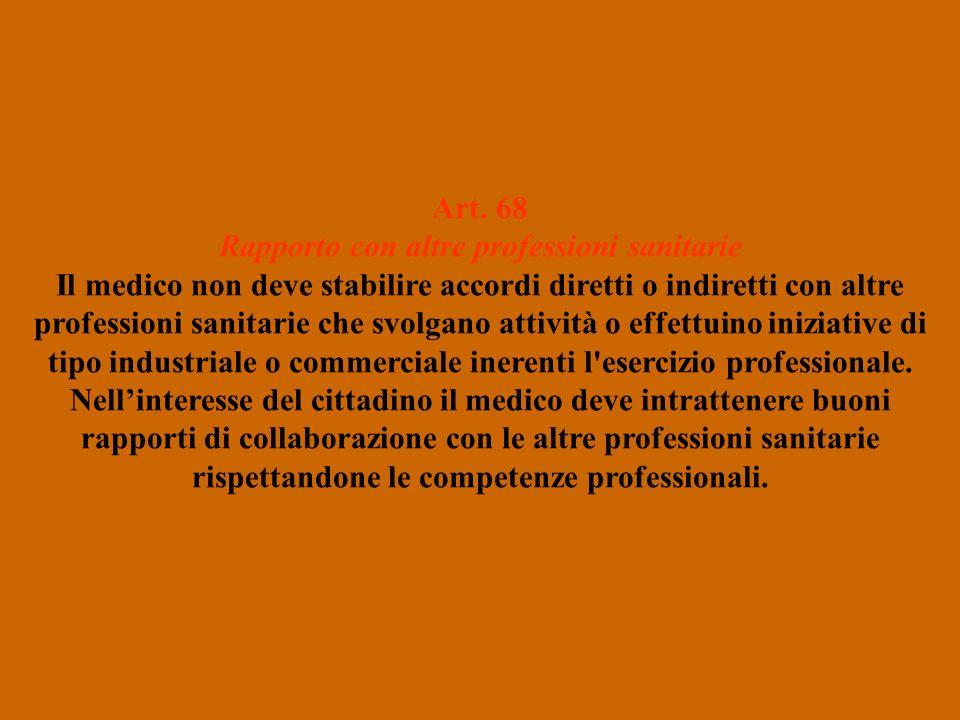 Art. 68 Rapporto con altre professioni sanitarie