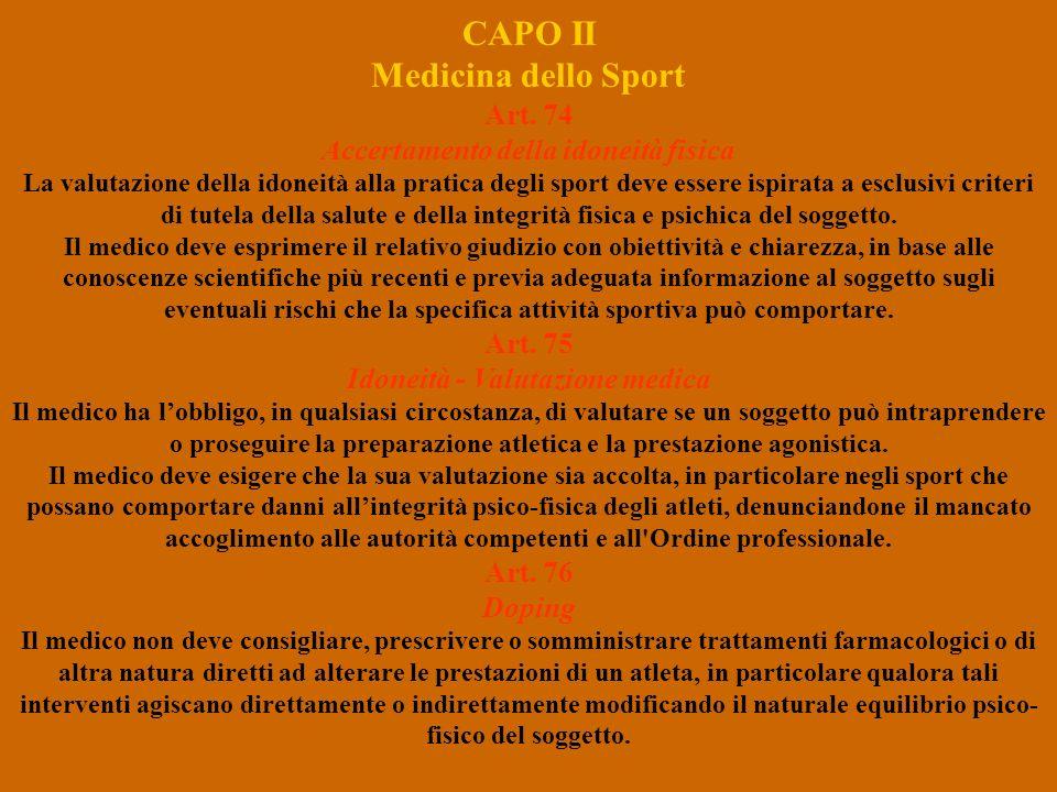 CAPO II Medicina dello Sport