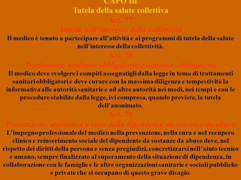 CAPO III Tutela della salute collettiva