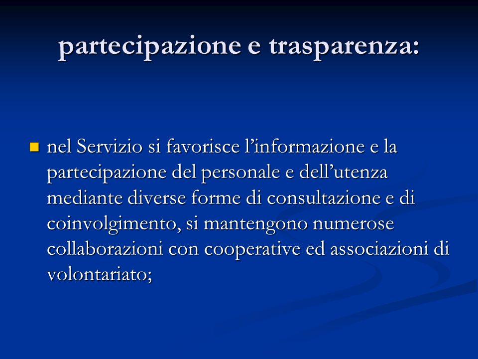 partecipazione e trasparenza: