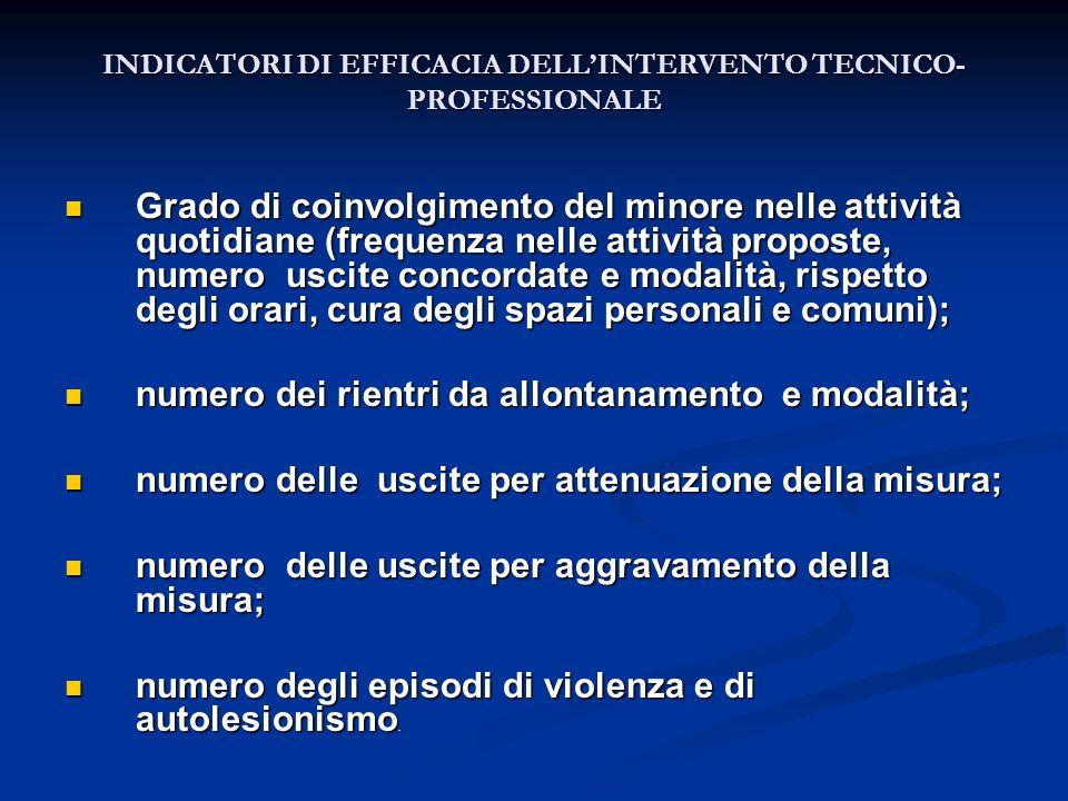 INDICATORI DI EFFICACIA DELL'INTERVENTO TECNICO-PROFESSIONALE