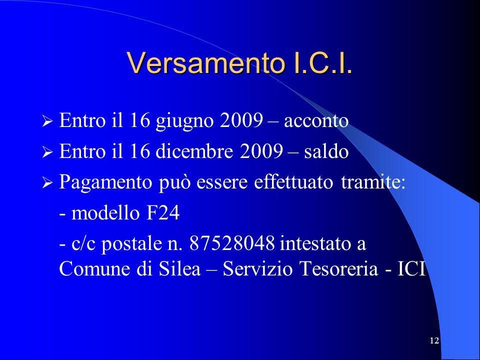 Versamento I.C.I. Entro il 16 giugno 2009 – acconto