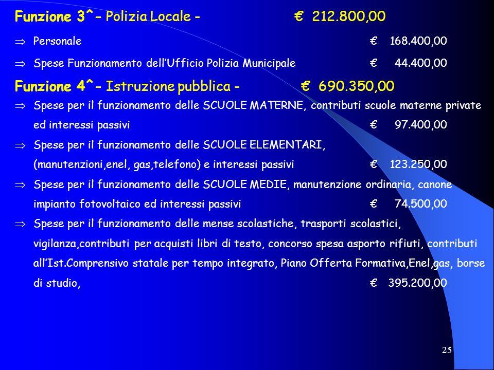 Funzione 3^- Polizia Locale - € 212.800,00