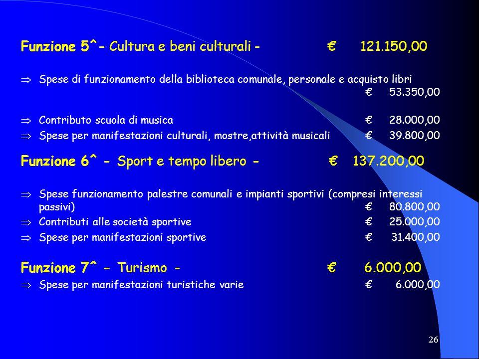 Funzione 5^- Cultura e beni culturali - € 121.150,00