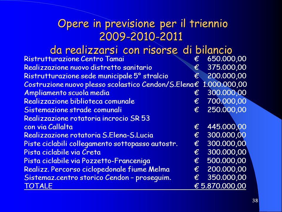 Opere in previsione per il triennio 2009-2010-2011 da realizzarsi con risorse di bilancio