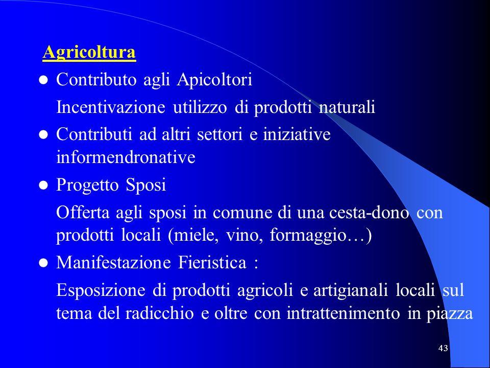 Agricoltura Contributo agli Apicoltori. Incentivazione utilizzo di prodotti naturali. Contributi ad altri settori e iniziative informendronative.