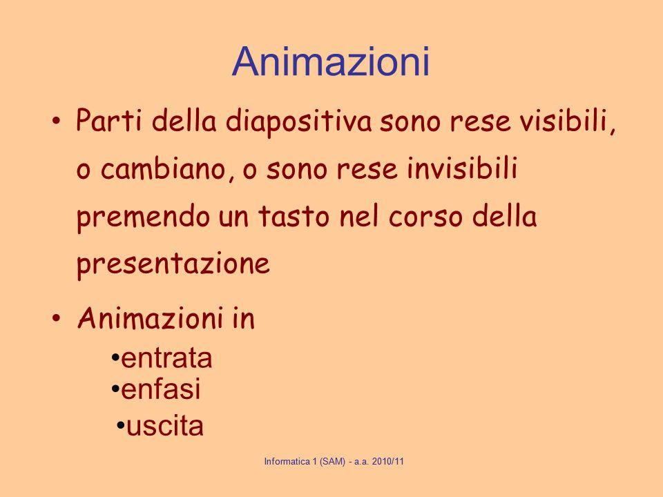 Animazioni Parti della diapositiva sono rese visibili, o cambiano, o sono rese invisibili premendo un tasto nel corso della presentazione.