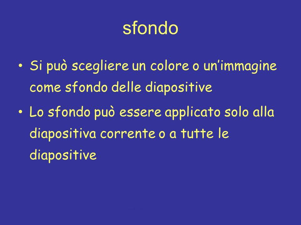 sfondo Si può scegliere un colore o un'immagine come sfondo delle diapositive.