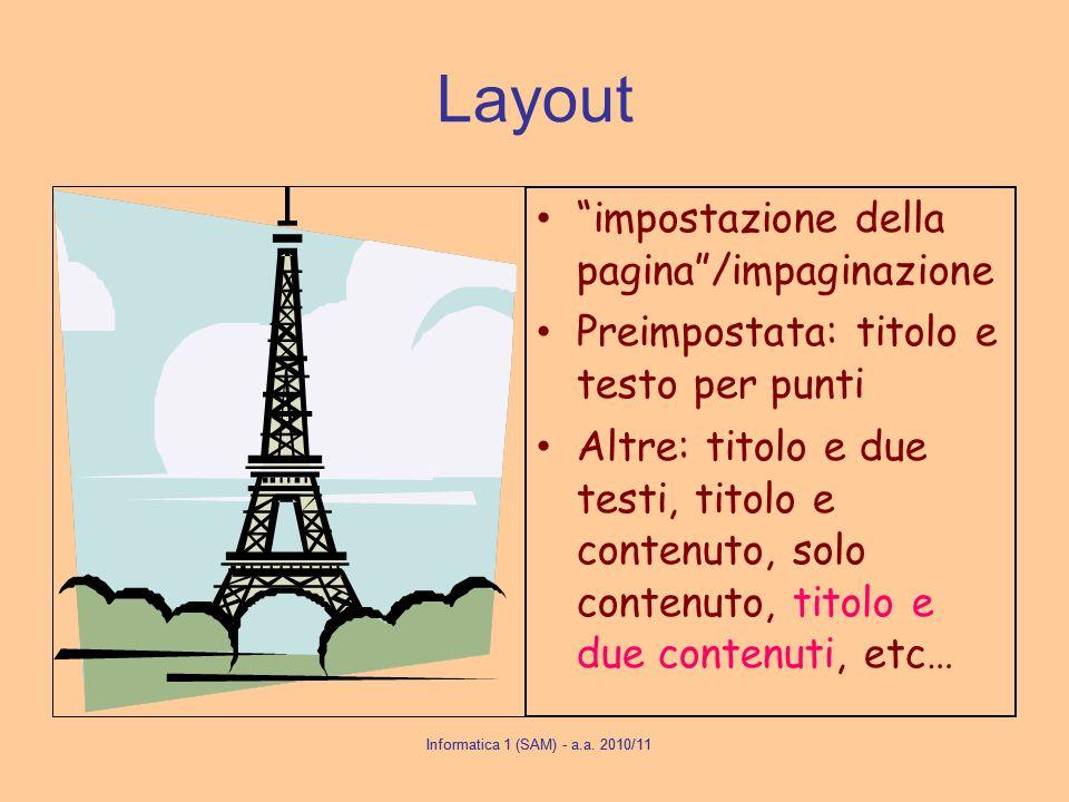 Layout impostazione della pagina /impaginazione