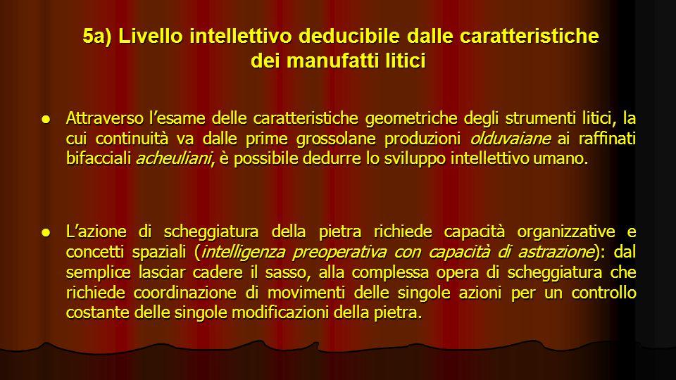 5a) Livello intellettivo deducibile dalle caratteristiche dei manufatti litici