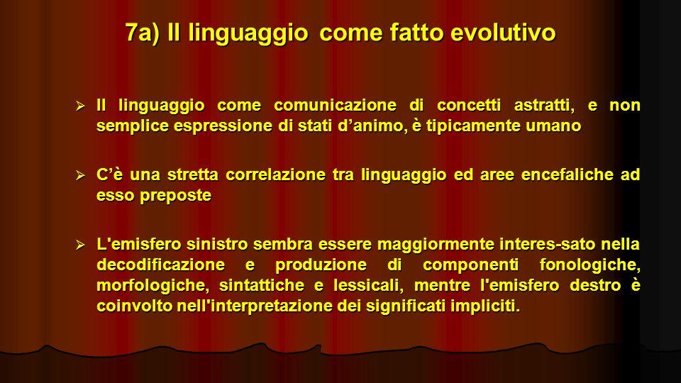 7a) Il linguaggio come fatto evolutivo