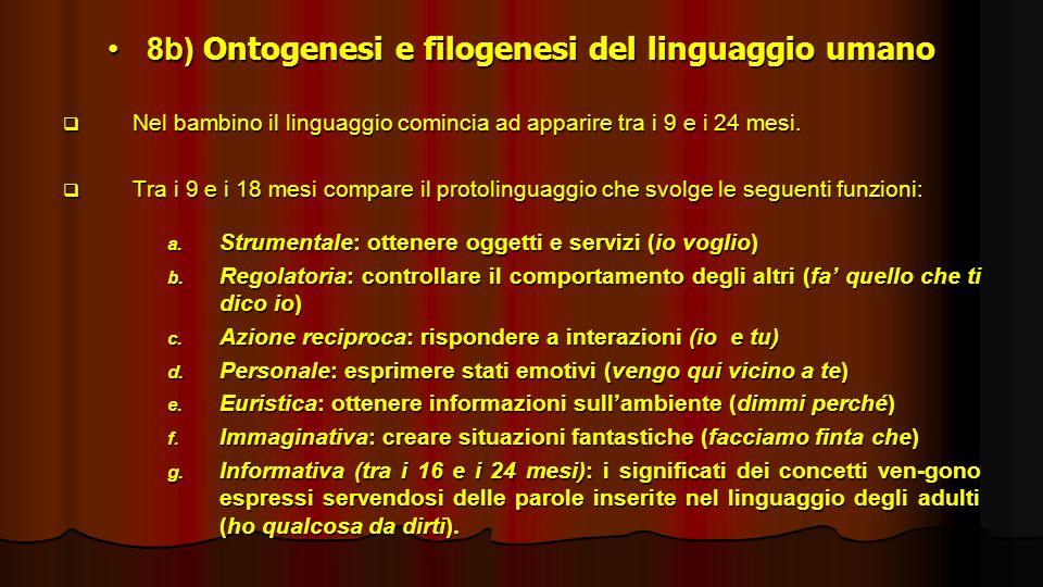 8b) Ontogenesi e filogenesi del linguaggio umano
