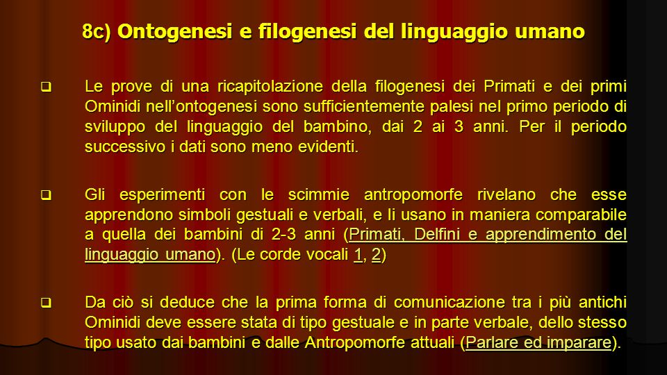 8c) Ontogenesi e filogenesi del linguaggio umano