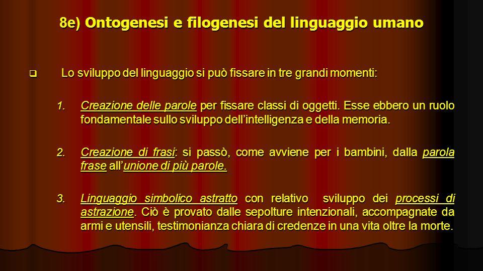8e) Ontogenesi e filogenesi del linguaggio umano