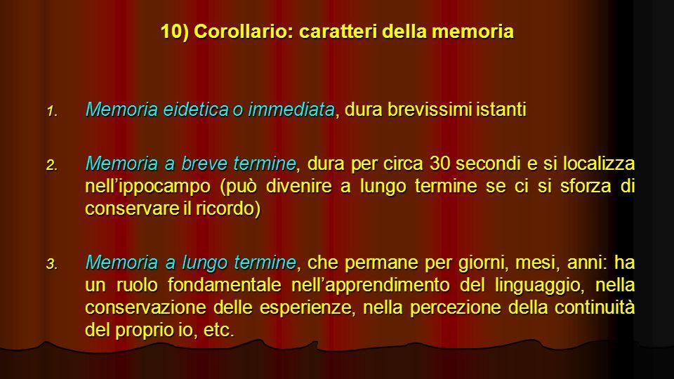 10) Corollario: caratteri della memoria