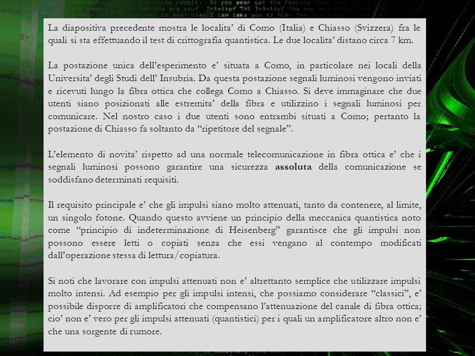 La diapositiva precedente mostra le localita' di Como (Italia) e Chiasso (Svizzera) fra le quali si sta effettuando il test di crittografia quantistica. Le due localita' distano circa 7 km.