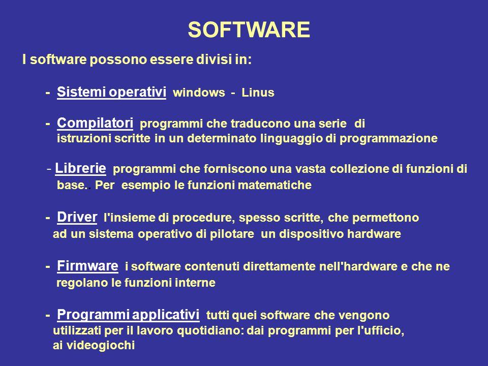 SOFTWARE I software possono essere divisi in: