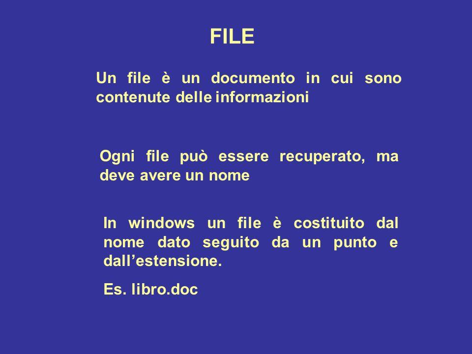 FILE Un file è un documento in cui sono contenute delle informazioni